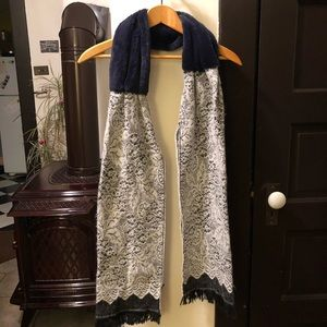Anthropologie Faux Fur and Woven Scarf